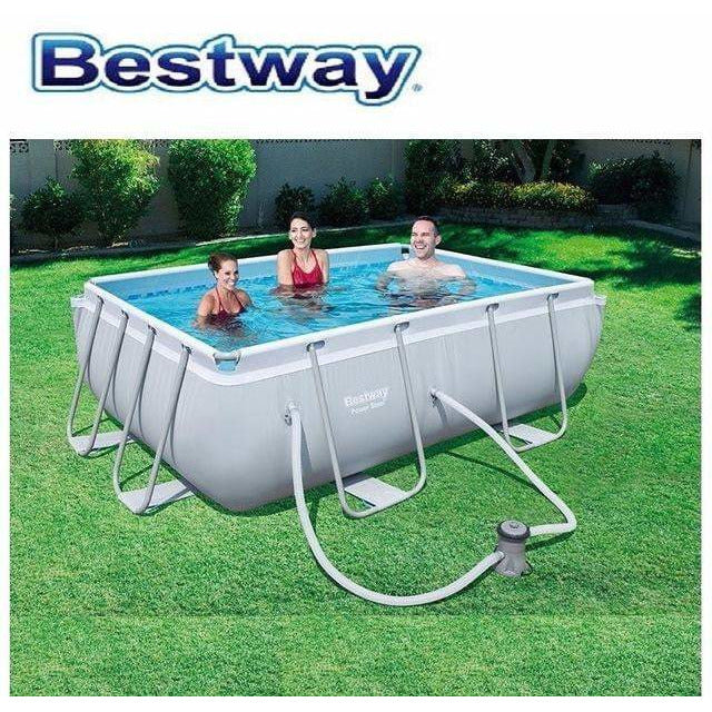 "Bestway 111"" x 77"" x 33""/2.82m x 1.96m x 84cm Power Steel Rectangular Frame Pool Set - rafplay"