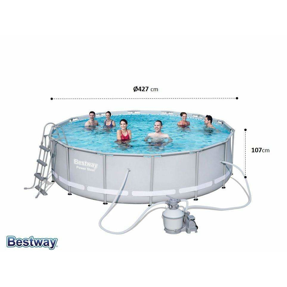 "Bestway 14' x 42""/4.27m x 1.07m Power Steel Frame Pool Set - rafplay"