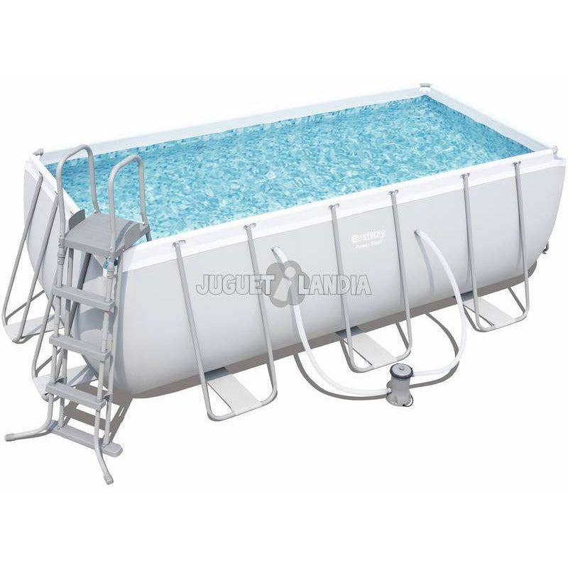 "Bestway 162"" x 79"" x 48""/4.12m x 2.01m x 1.22m Power Steel Rectangular Frame Pool Set - rafplay"