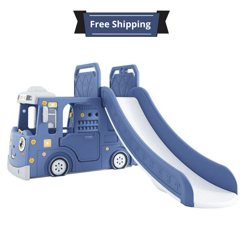 """3in 1 Mega Play Bus With slide, swing  basketball and playarea Multiactivities playset - BLUE """