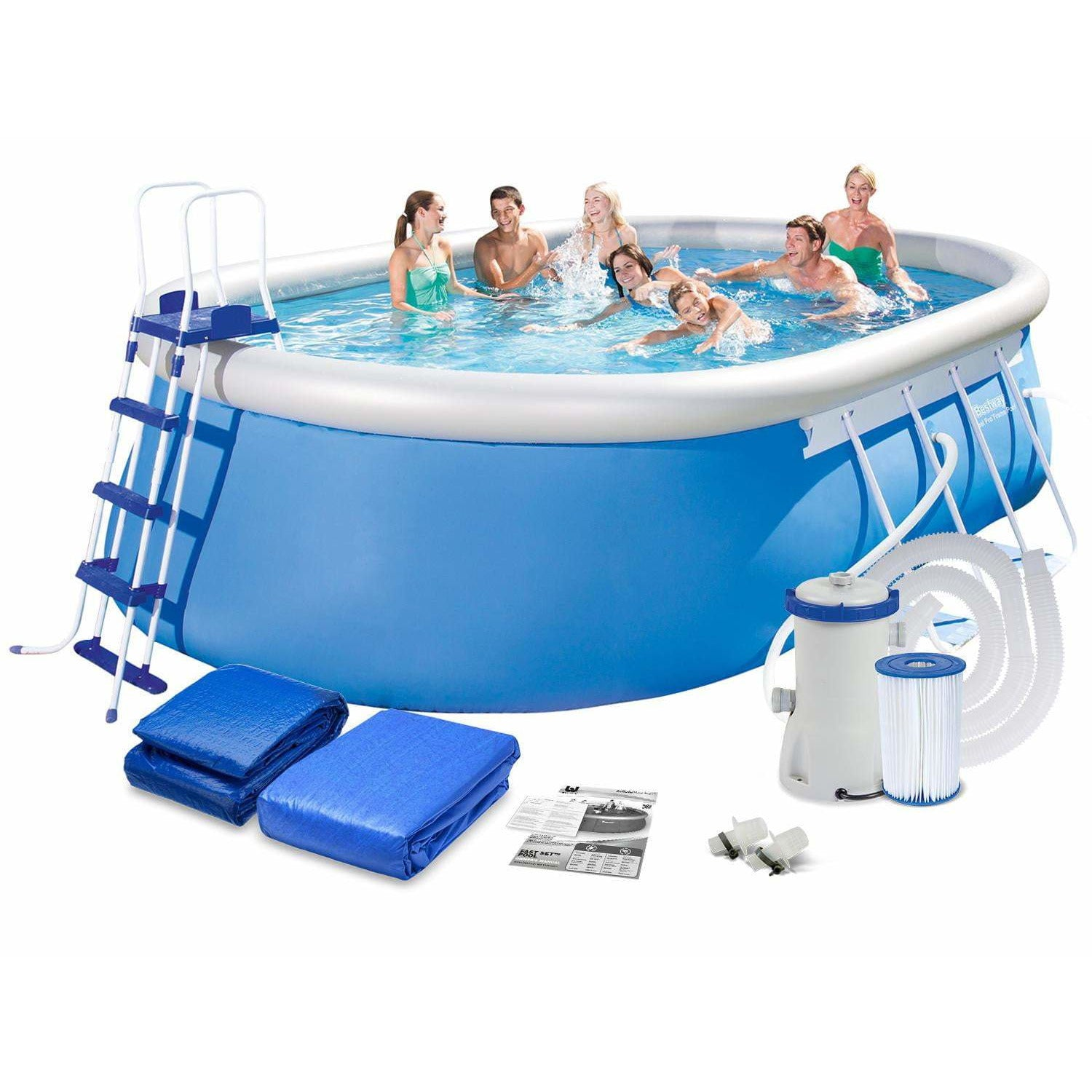 "Bestway 18' x 12' x 48""/5.49m x 3.66m x 1.22m Steel Pro Frame Pool Set - rafplay"
