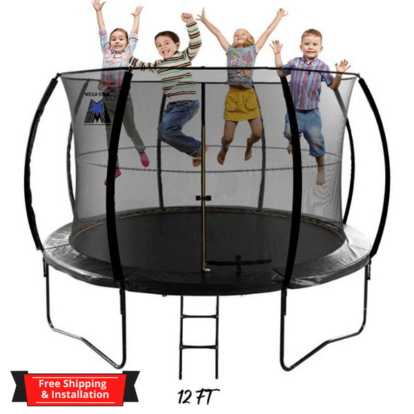 "MEGASTAR ""JUMP N BOUNCE"" TRAMPOLINE WITH ENCLOSURE NET & LADDER"