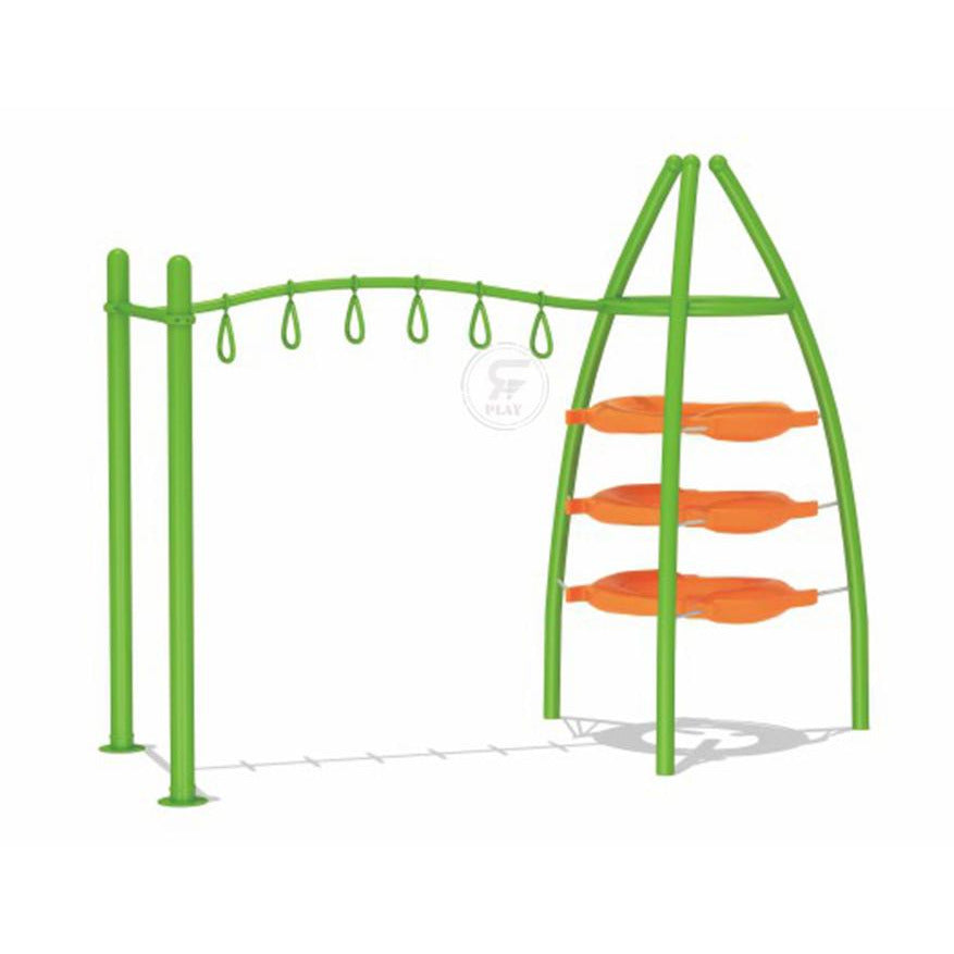 Outdoor Lil Apes Trapeze swing and Slip Play gymset With Obstacles for  Little Monkeys- 340X140X240 cm