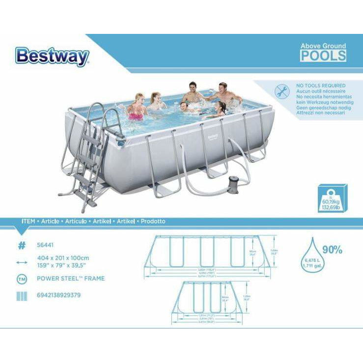 "Bestway 159"" x 79"" x 39.5""/4.04m x 2.01m x 1.0m Power Steel Rectangular Frame Pool Set - rafplay"