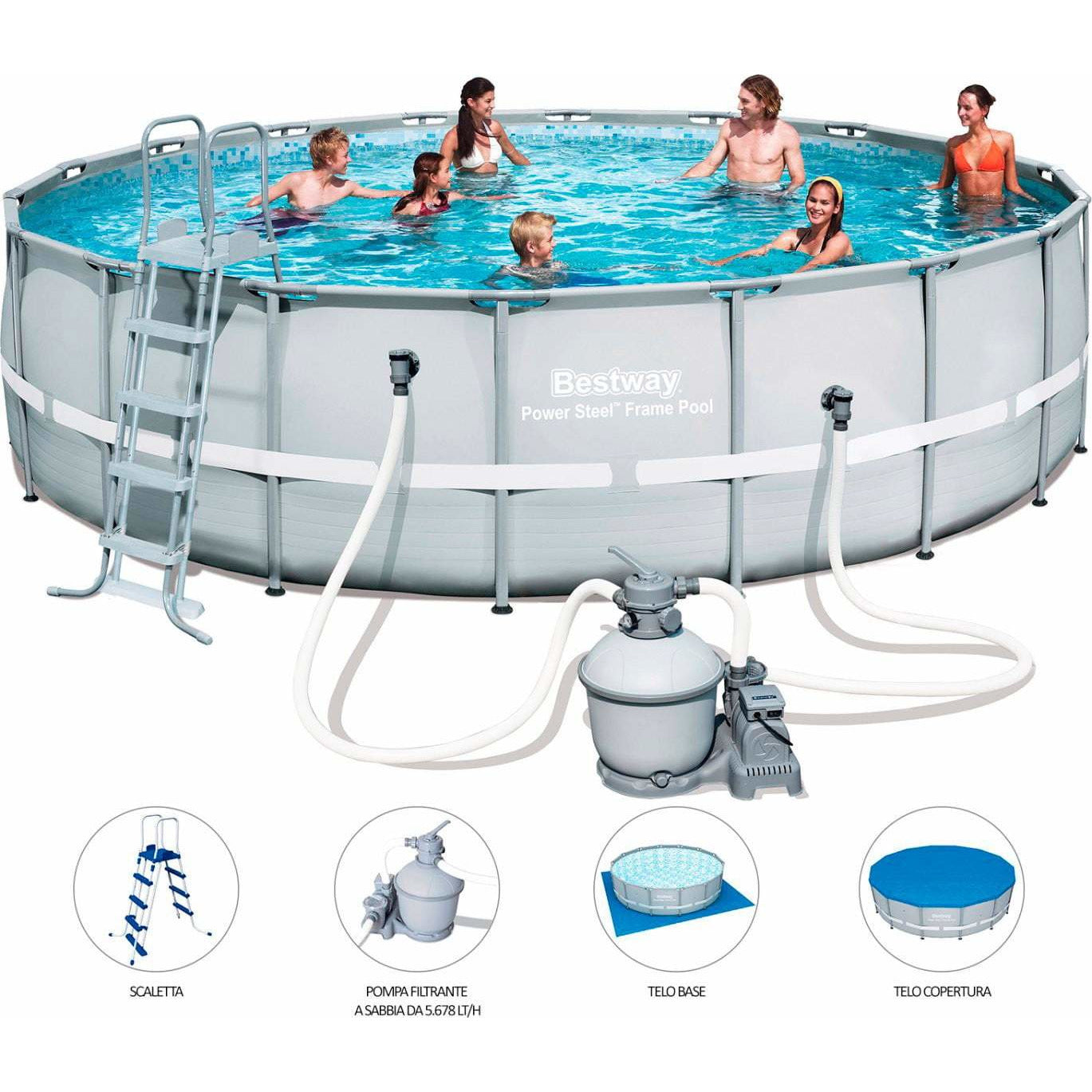 "Bestway 18' x 52""/5.49m x 1.32m Power Steel Frame Pool Set - rafplay"