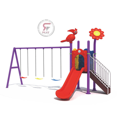 Outdoor Shade N slide triple swinging Metal playset - 250X70X80CM