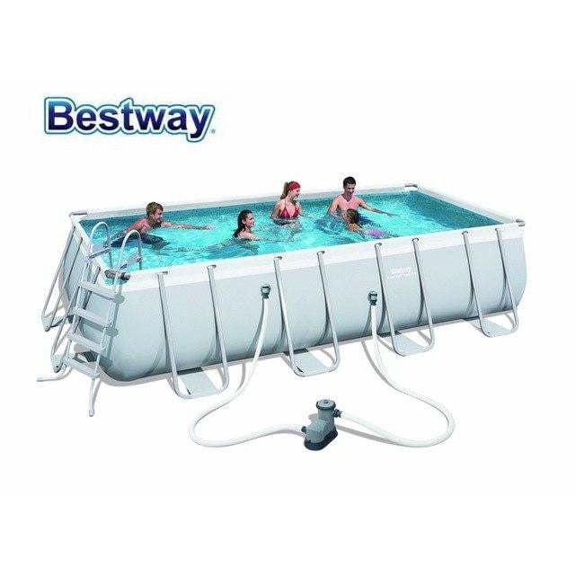 "Bestway 18' x 9' x 48""/5.49m x 2.74m x 1.22m Power Steel Rectangular Frame Pool Set - rafplay"