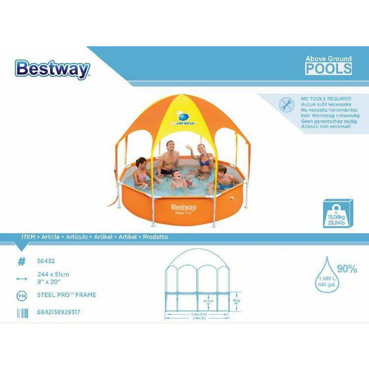 "Bestway 8' x 20""/2.44m x 51cm Splash-in-Shade Play Pool - rafplay"