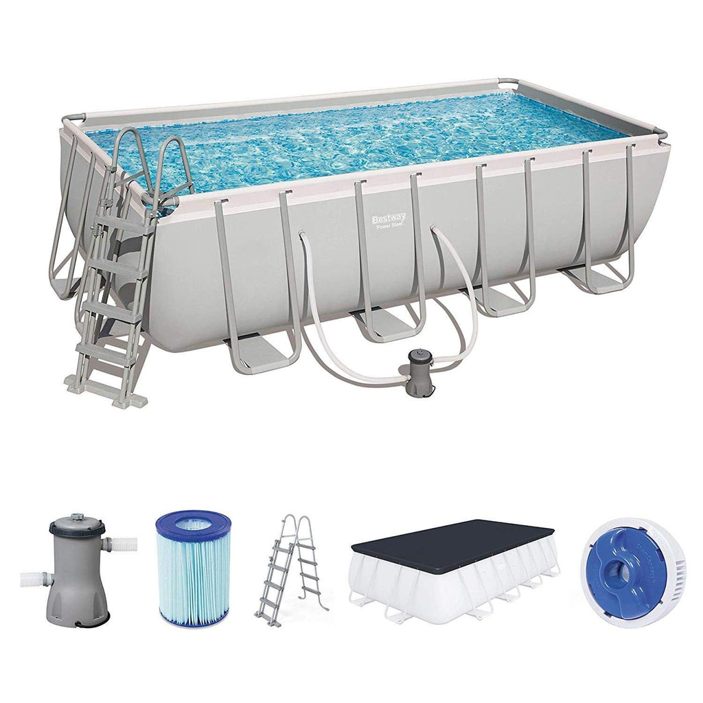 "Bestway 16' x 9' x 48""/4.88m x 2.74m x 1.22m Power Steel Rectangular Frame Pool Set"