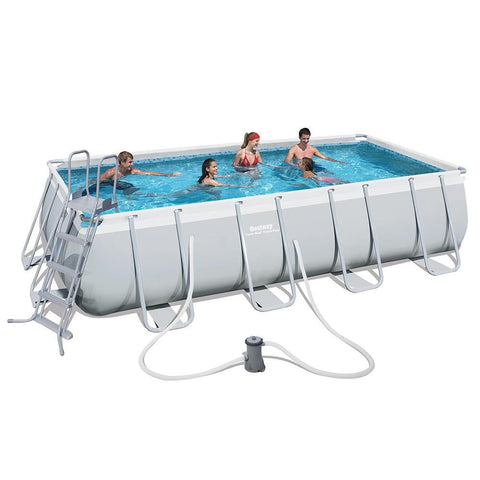"Bestway 16' x 9' x 48""/4.88m x 2.74m x 1.22m Power Steel Rectangular Frame Pool Set - rafplay"