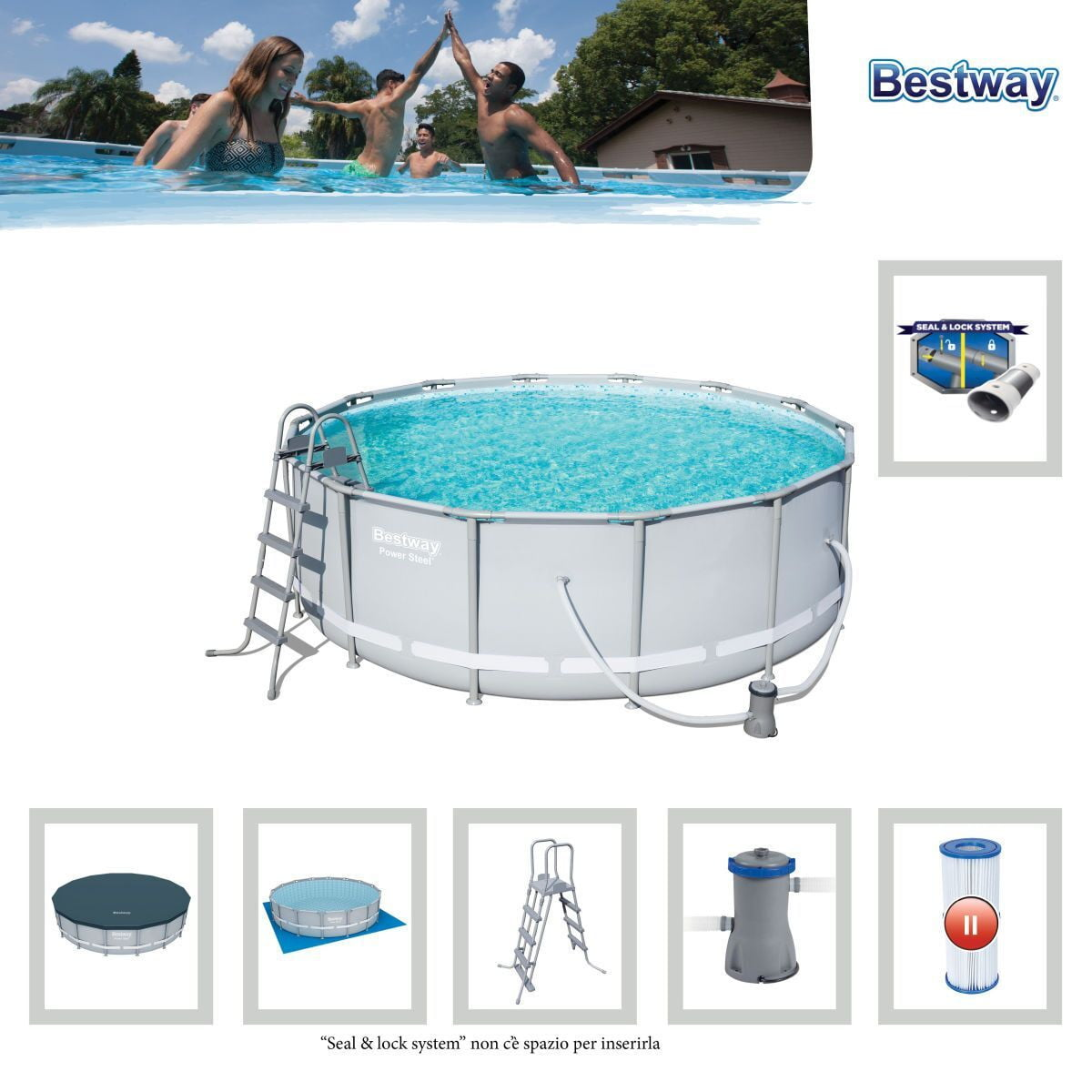 "Bestway 56444 - 14' X 48"" POWER STEEL™ ROUND POOL SET - rafplay"