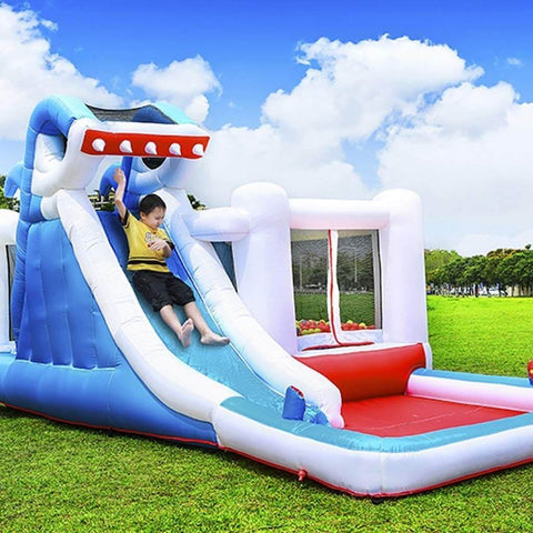 Megastar Inflatable  Bouncy Shark Jumper With Double Slide Water Park