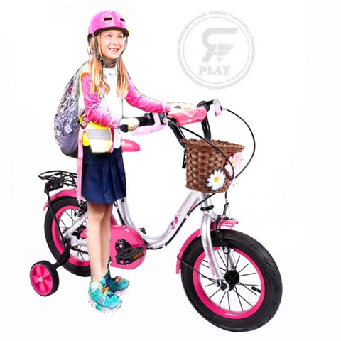 "Megawheels 12"" inch Metallic Rosy Girls  bicycle with  basket and Back Carrier Including Training Wheels-   ASSORTED"