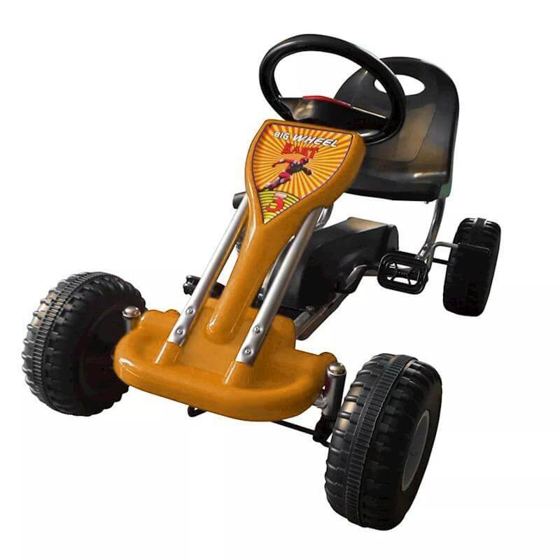 yellow go kart with pedals