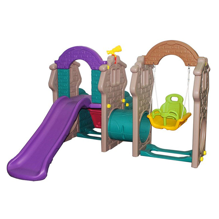 Tunnel Playhouse with Swing ,slide & Rock Climber Wall  - Assorted  Colors - rafplay