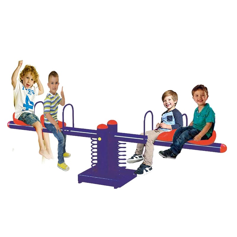 Quadraplet Double springs Metal See Saw Rocker- 4 seats  - Assorted  Colors - rafplay