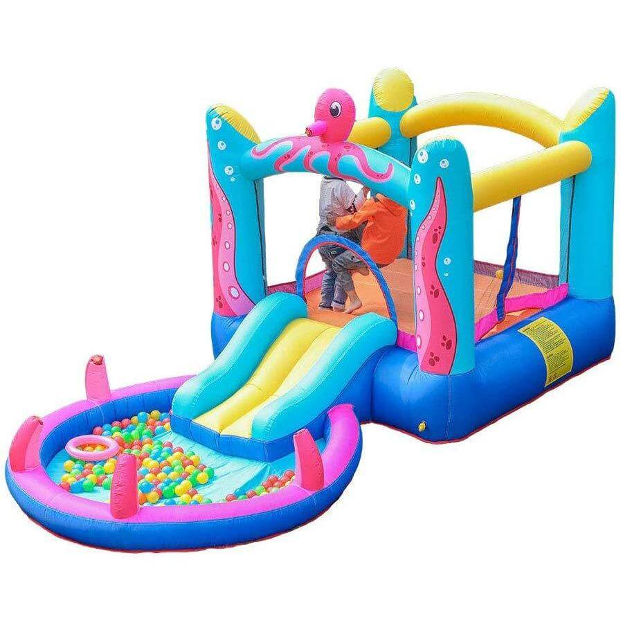Megastar Inflatable Doctor Octopus Bounce House with Built-In Water Sprayer, Ball Pit, and slide In  Pool