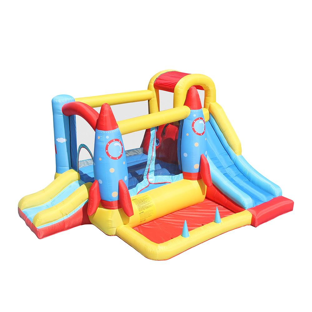 Megastar Inflatable Space Base Rocket Bounce House Jumping Castle Kids Bounce Long  Slider with Air Blower for Kids Party