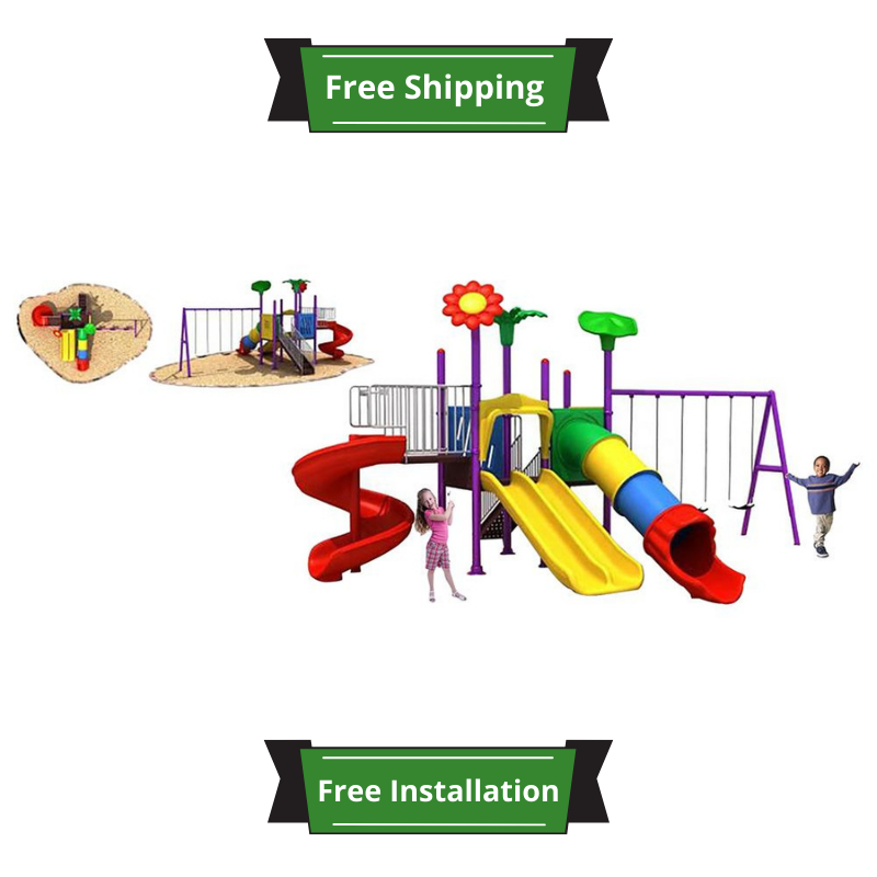 Raf- Mega Garden Dual And Single Slides And Swings - 740 x 570 x 390 cm