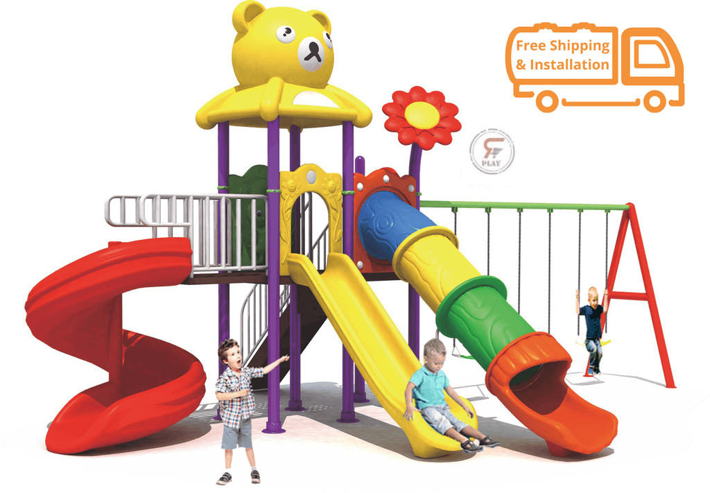 Outdoor Fuzzy wuzzy Teaddy & Flower Birds Metal Playset With monkey bars, Climbing steps , Basketball Ring ,  and swings & Slides for kids amusement - 720 x 500 x 330 cm