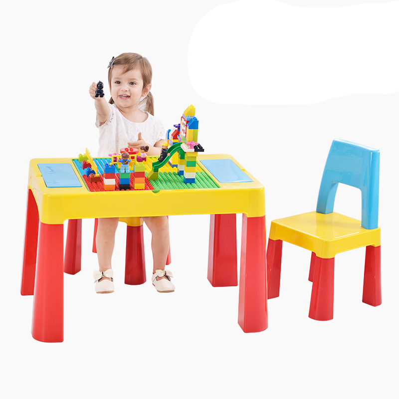 Megastar Multifunctional ActivityBlock Building & Activity Desk Table With 2 Chairs