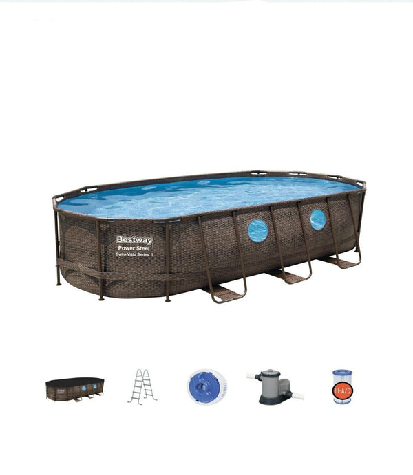 Power Steel Swim Vista Series 5.49m x 2.74m x 1.22m Oval Pool Set
