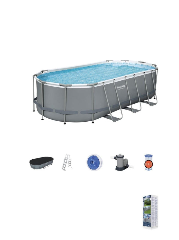 "Power Steel™ 18' x 9' x 48""/5.49m x 2.74m x 1.22m Oval Pool Set"