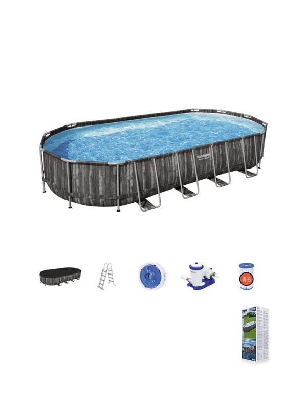"Power Steel™ 24' x 12' x 48""/7.32m x 3.66m x 1.22m Oval Pool Set"