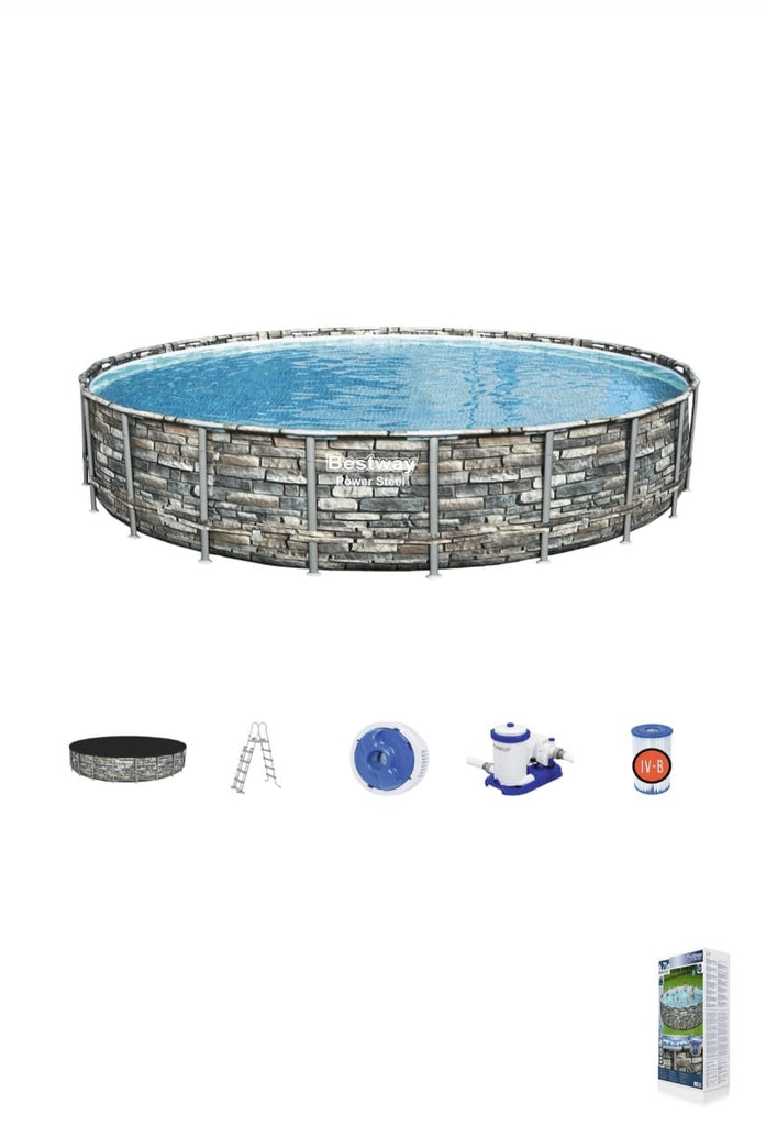 Power Steel ™ Frame Pool complete set, round, with filter pump, safety ladder & tarpaulin 671 x 132 cm