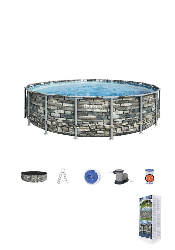 Power Steel ™ Frame Pool complete set, round, with filter pump, safety ladder & tarpaulin 549 x 132 cm / 671x132 cm