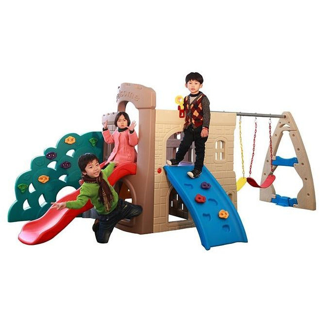 Hovering Tower Playset with Multi activities Playslide & Double swings.