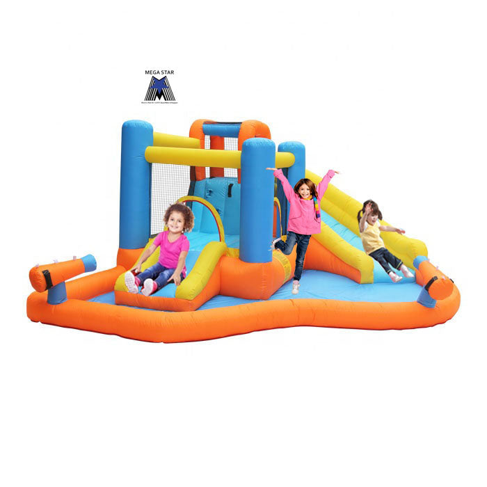 Megastar Inflatable bouncy Jumpin' Water slide  N Shooter Fun Arena 4.20 x 3.60 x 1.85 mtr