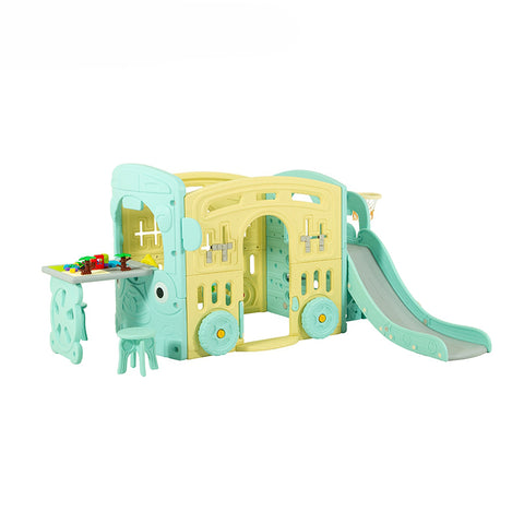 Wheels On The Bus 4 in 1 Activity Playhouse with Slide & Play Table & Chairs