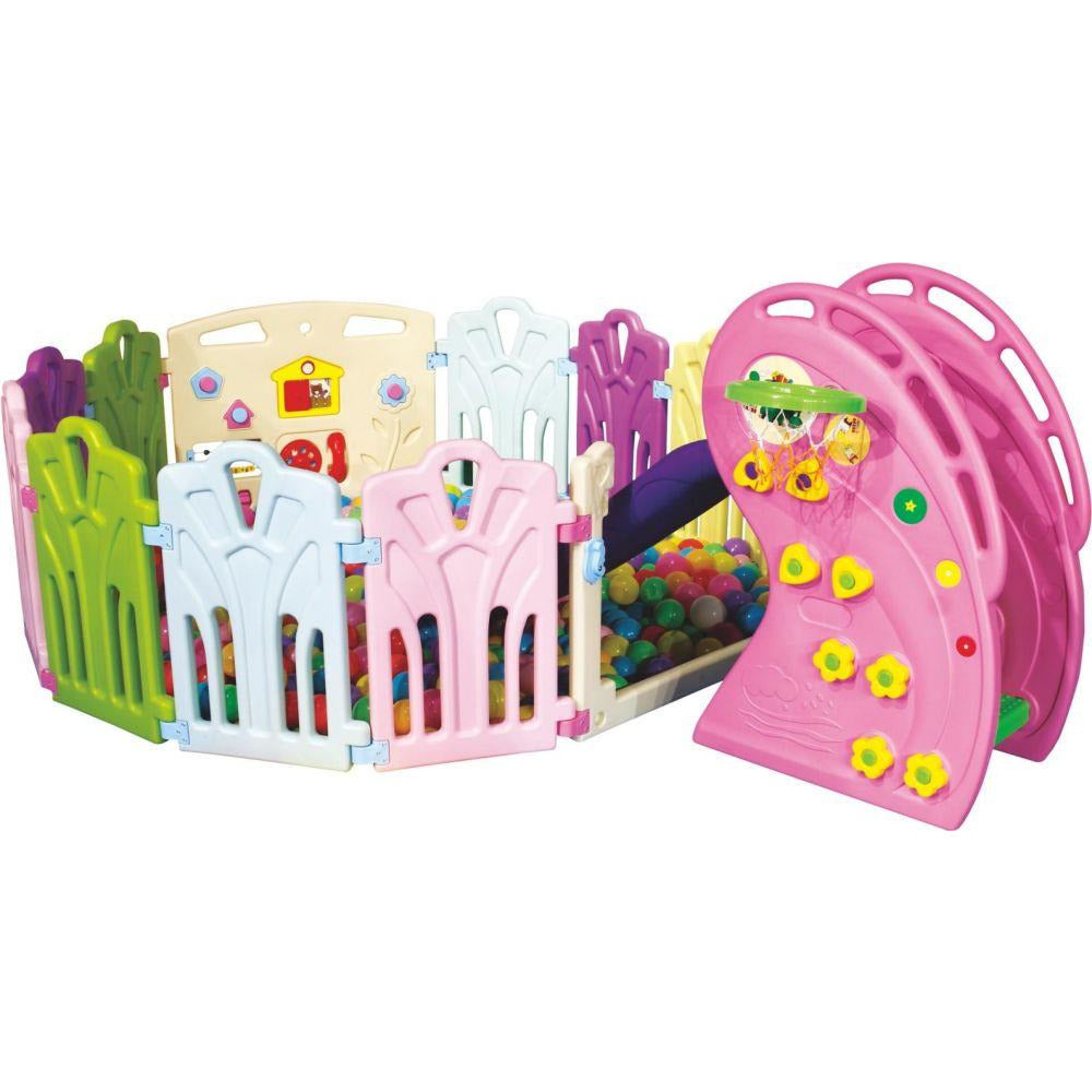 Pink Slide With Colorful Play Pen & Play Balls - rafplay