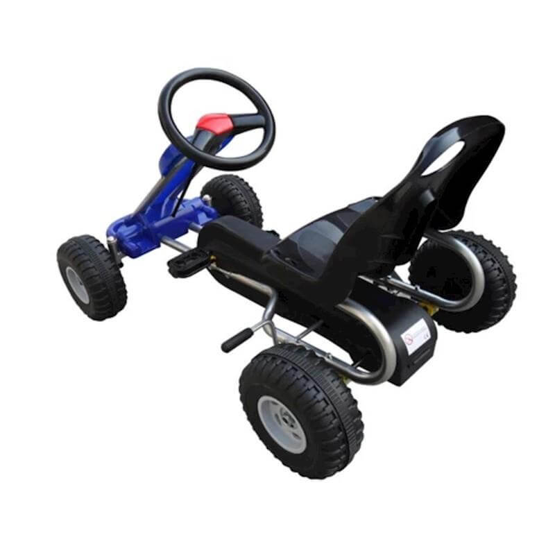 blue go kart with pedals for toddlers