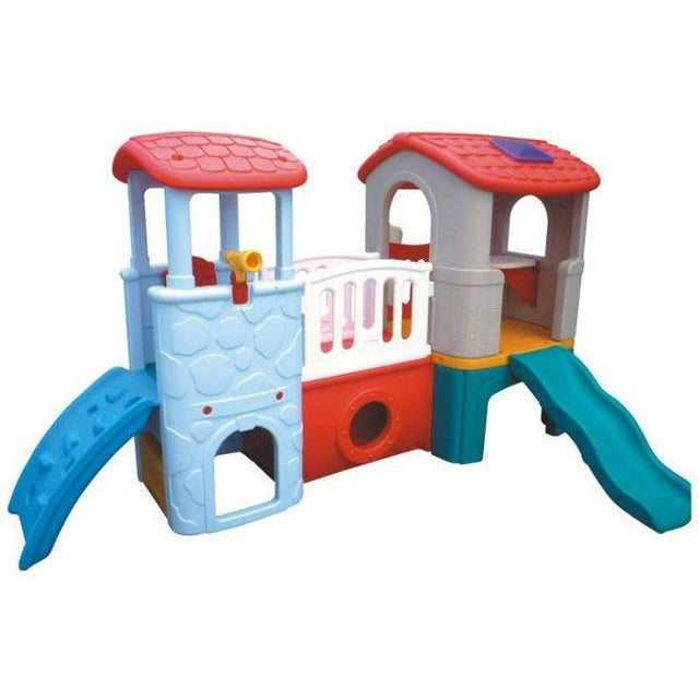 TEENY PLAYHOUSE DOUBLE SLIDE WITH TWIN TOWER WHITE - rafplay