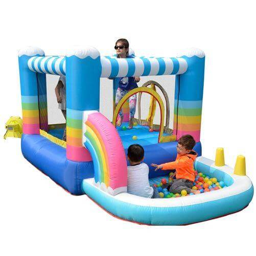 Megastar Inflatable Rainbow Bounce House with Built-In Ball Pit -  - Multi Color