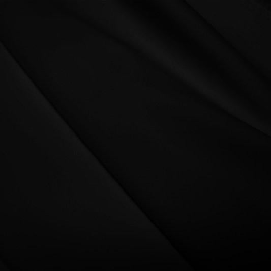 A flat sample of polyester lycra fabric in the color black.