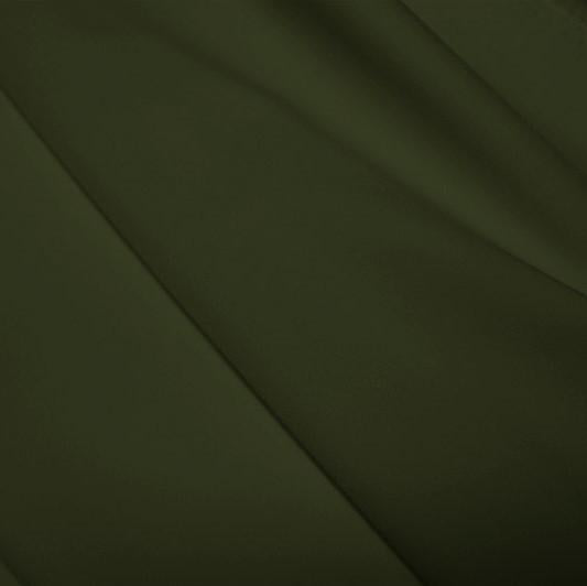 A flat sample of polyester lycra fabric in the color dusty olive.