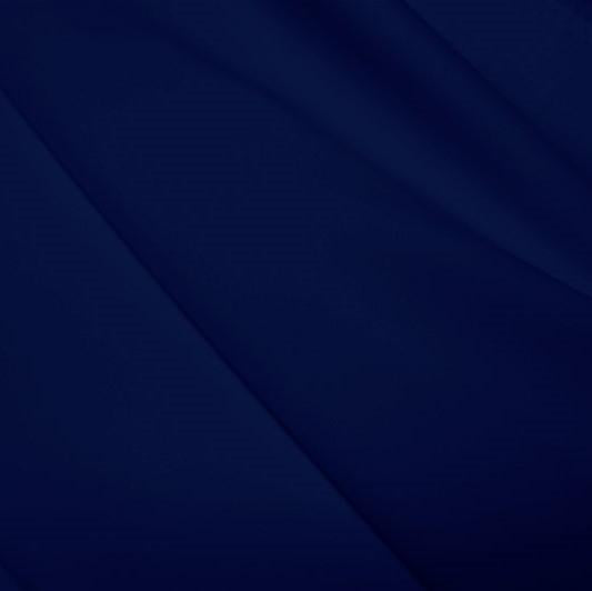 A flat sample of polyester lycra fabric in the color navy.