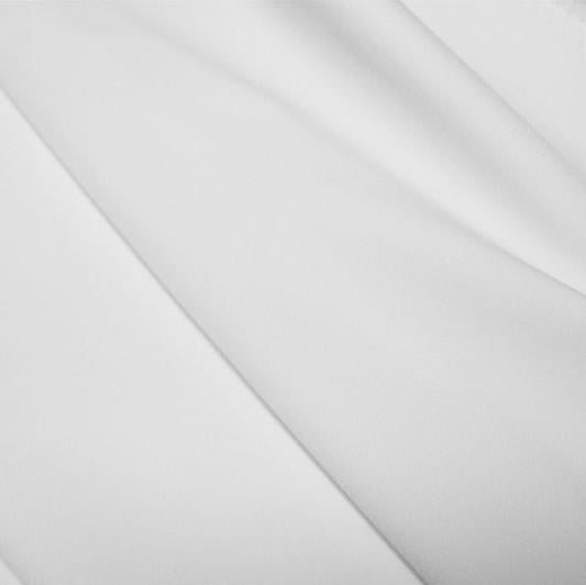 A flat sample of polyester lycra fabric in the color white.