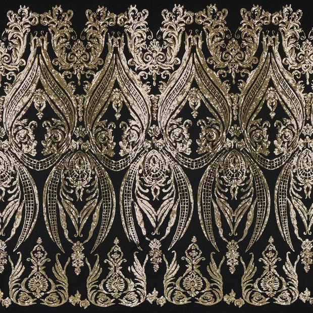 A panel of Amelia. Early Hollywood-inspired design with embroidered gold sequin on a black stretch mesh base.