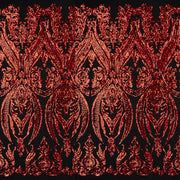 A panel of Amelia. Early Hollywood-inspired design with embroidered red sequin on a black stretch mesh base.