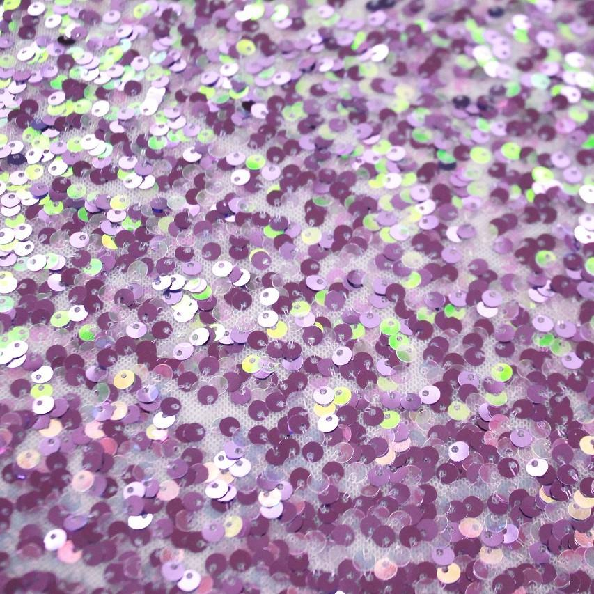 A flat sample of Belle stretch mesh sequin in the color lilac.