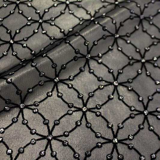 Black Ice Flocked Stretch Mesh