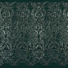 A panel of Celine, a Victorian-inspired design with embroidered emerald green sequin on an emerald green stretch mesh base.