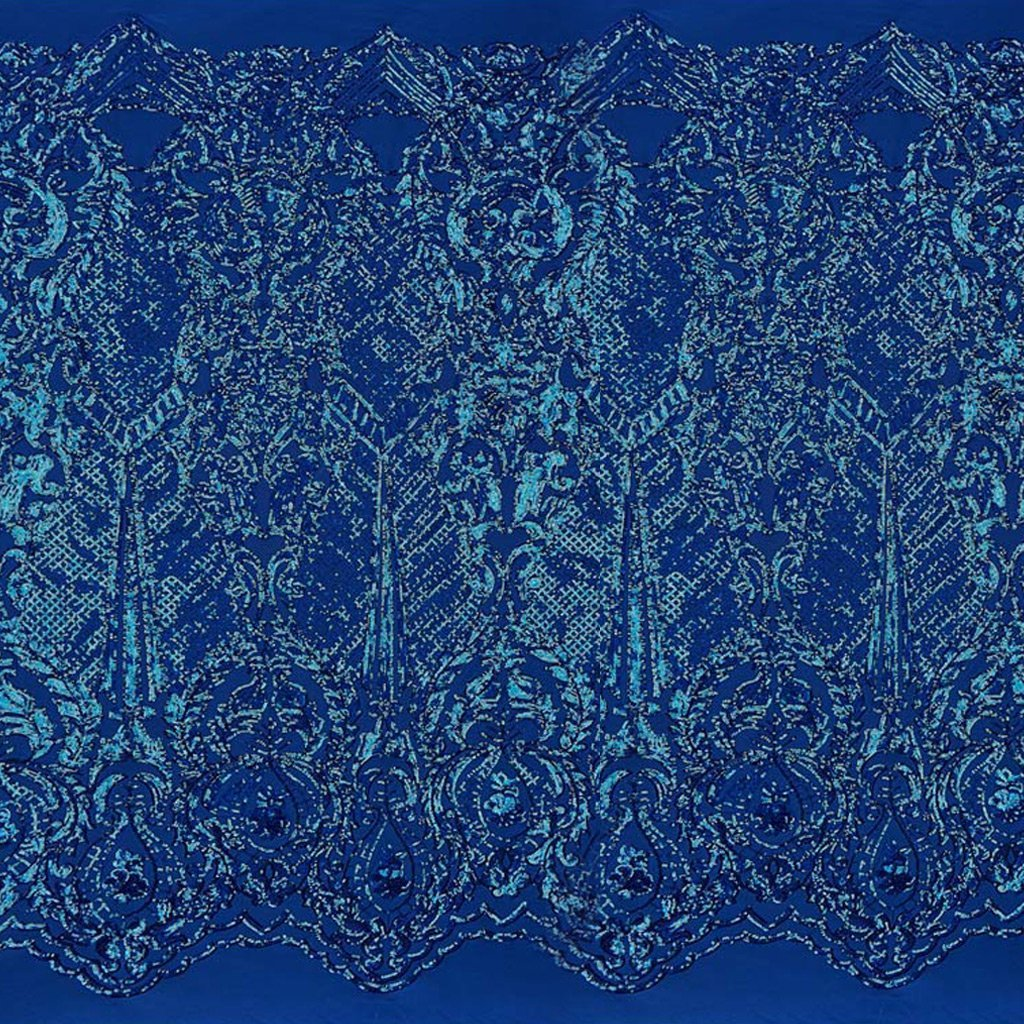 A panel of Celine, a Victorian-inspired design with royal blue sequin on a royal blue stretch mesh base.