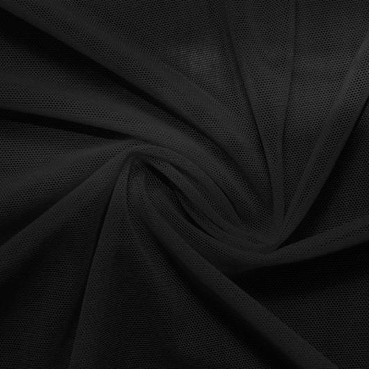 A swirled piece of Compression Mesh in black.