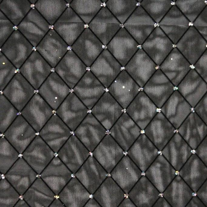 Diamonds Black Mesh with Black Flocking and Silver Glitter Dots