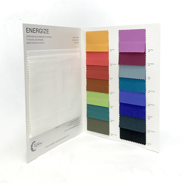Energize Activewear Nylon Spandex Color Card